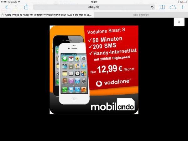 (Ebay) iPhone 4s 8gb mit vodafone smart s für für 361€