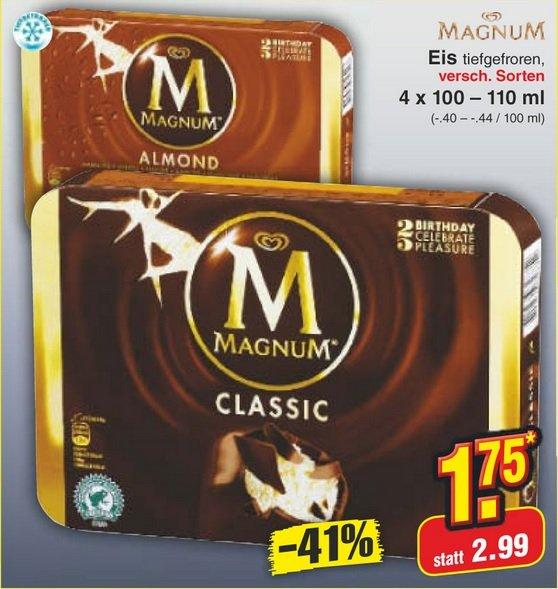 [Regional??]  Magnum Eis (4x100-110g) für 1,75 € (nur am Samstag, 13.09.2014)