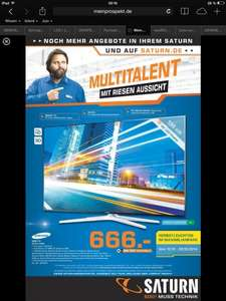 [Lokal Saturn Hamm Westfalen] Samsung LED TV UE55H6290 für 666€ statt 881€! 7.9 - 9.9.2014.