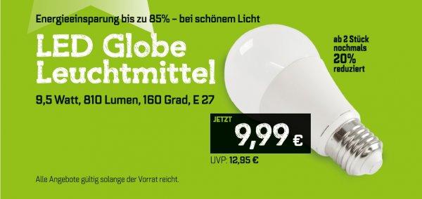 Eröffnungsangebot LED Leuchtmittel E27 9,5 W 810 lm (60W)