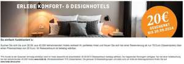 20€ Gutschein bei Hotel.de ab einer 79€ Buchung (25% Rabatt bei einer Nacht) + 4,5% qipu