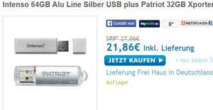 Intenso 64GB Alu Line Silber & Patriot 32GB Xporter Pulse beide USB2.0 @ Zoombits