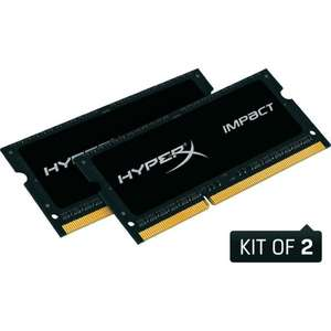 16GB Notebook-RAM: 2x8GB Kingston HyperX Impact Black SO-DIMM DDRL3-RAM-1866 MHz