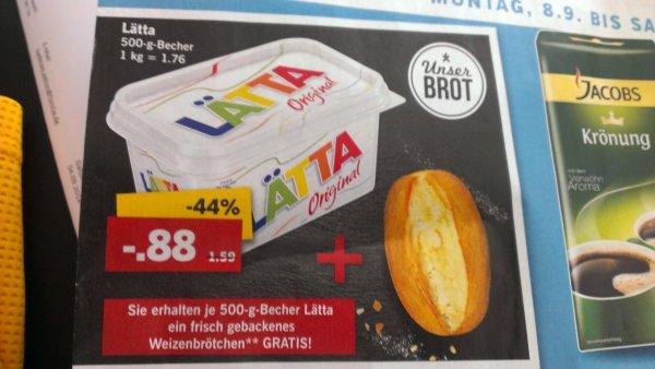 Lidl Lätta 500g + ein Weizenbrötchen 0,88€