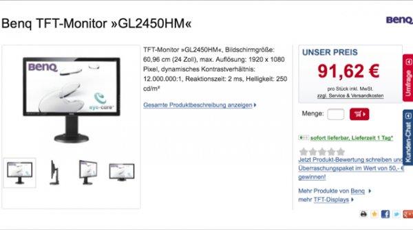 Benq 24 Zoll TFT-Monitor GL2450HM @ Otto Office für 93,44 € (Idealo 137,95 €)