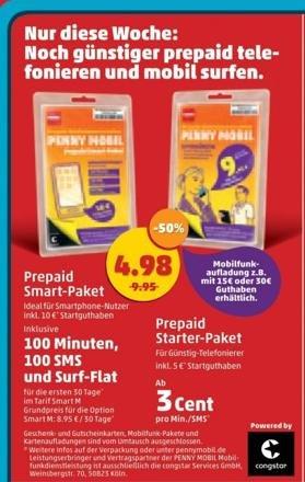 Prepaid - Penny Mobil (congstar, D-Netz) -  Starter-Pakete für 4.98 Euro (statt 9.95) bei Penny