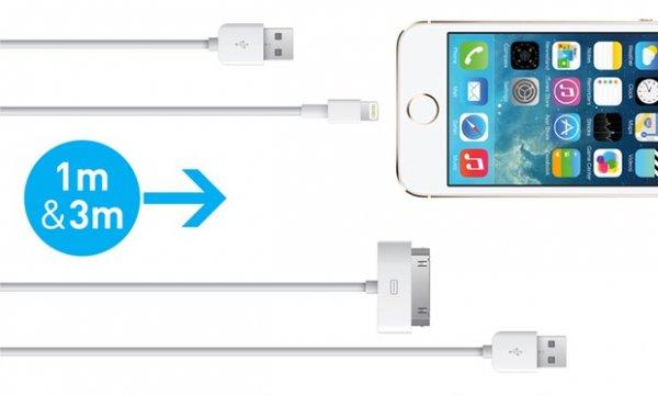 1 oder 3 Meter 30-Pin-Dock-Connector-, Lightning- oder Micro-USB-Kabel ab 2,90 € / Zzgl. 1,99 € Versand