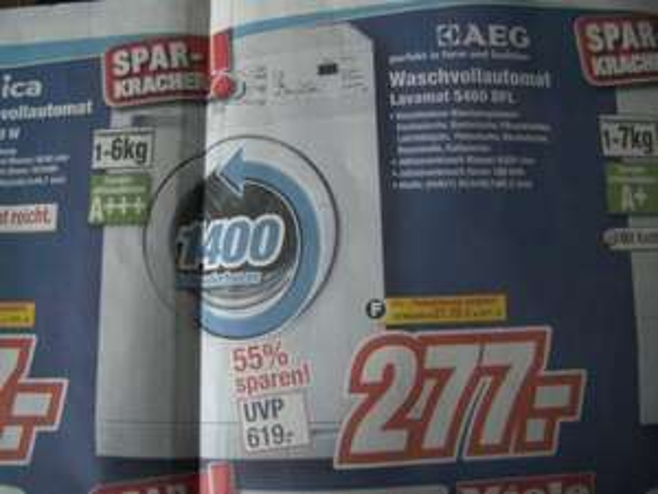 Lokal Media Park Schifferings 23 % Ersparnis AEG Waschvollautomat Lavamat 5460 DFL 277,00 Euro