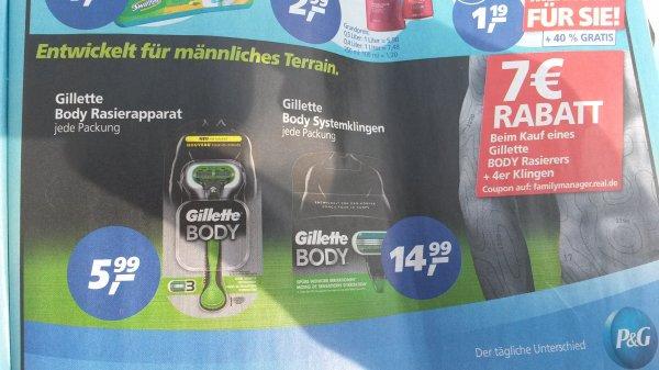 Gillette Body Rasierer + 4er Pack Rasierklingen ab KW38 bei real für 10,48