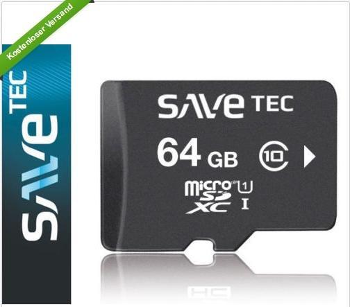 Mal wieder: SAVETEC 64 GB MICRO SDXC UHS-1 ULTRA 64GB CLASS 10 @ Ebay
