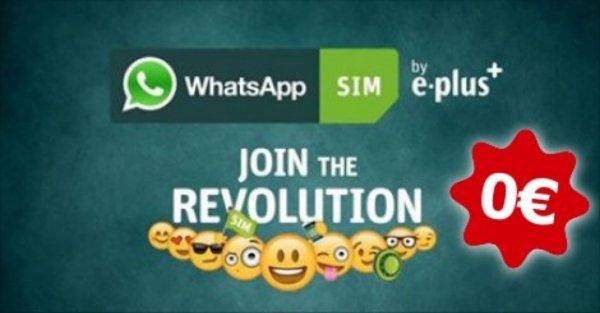 WhatsApp Simkarte für 0 € (Normalpreis: 5€) mit 5 € Startguthaben (+ 600 Freieinheiten)