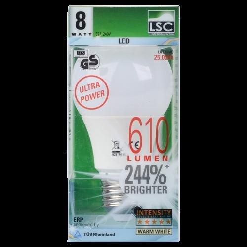 Lokal bei action:Ultra Power LED Lampe E27, 2900 Kelvin, 8 Watt, 610 Lumen 25.000 h Brenndauer Energielabel A+