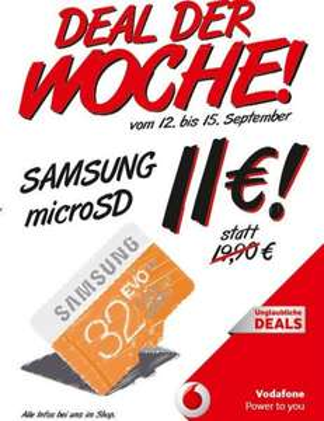 [OFFLINE ab Freitag bei Vodafone] Samsung microSD EVO 32 GB für 11 Euro
