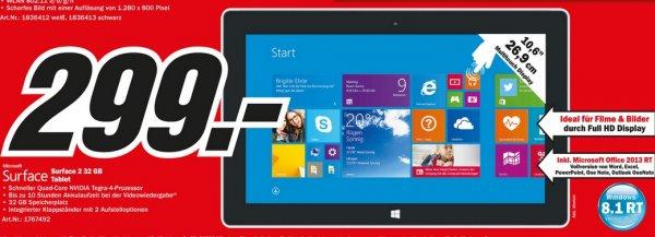 Microsoft Surface 2 32GB (+ Office) für 299€ @ Mediamarkt Wuppertal