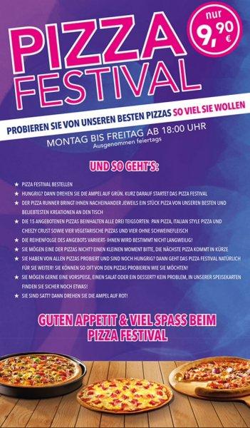 """Pizzahut """"Pizza Festival"""" - immer Mo-Fr: All u can eat Pizza mit Lieferung an den Tisch"""