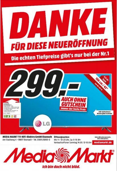 (Lokal) LG 42LB5500 106 cm (42 Zoll) LED-Backlight-Fernseher, EEK A+ (Full HD, 100Hz MCI, DVB-T/C, CI+) schwarz @ Mediamarkt Eisenach