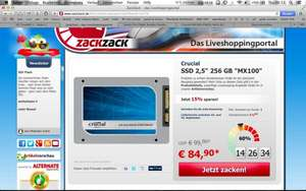 Crucial MX 100 256 GB SSD 84,90 Euro