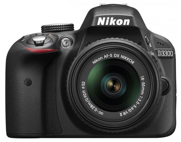 Nikon D3300 KIT 24,2 MP Digitalkamera - Schwarz mit AF-S DX 18-55mm VR II
