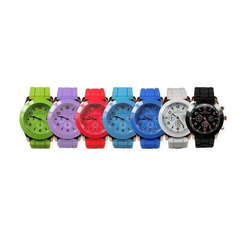 Design Uhren Set 7-teilig in 7 Trend Farben Armbanduhr Mega Watch