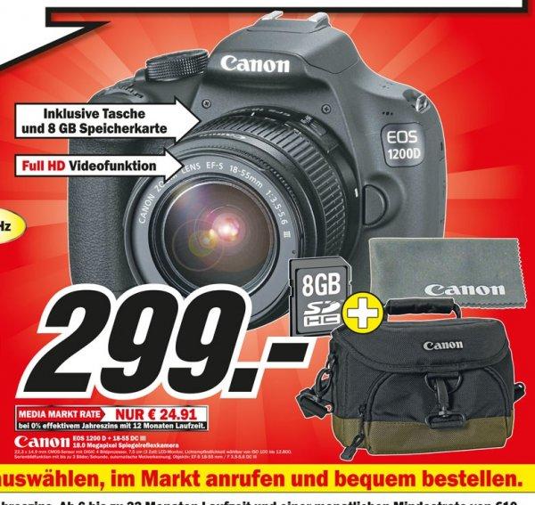 Canon EOS 1200D Kit 18-55 mm DC III + 8GB SD + Canon Tasche + Tuch Lokal @ Mediamarkt Chemnitz