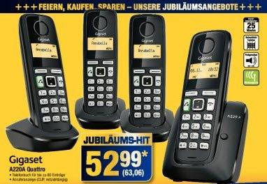 [Metro] Siemens Gigaset A220 Quattro DECT Telefon mit 4 Mobilteilen 18.09. bis 24.09.14