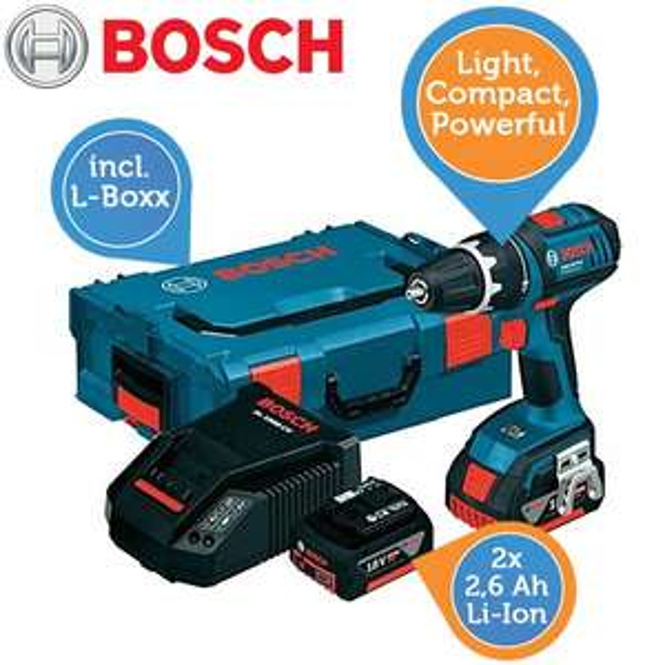 Bosch Akku-Bohrschrauber GSR 18 V-LI Professional 2 x 2,6 Ah + L-Boxx