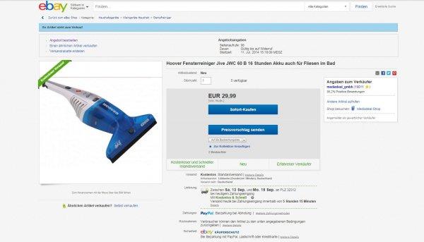 Hoover Fensterreiniger Jive JWC 60 B  @ ebay  29.99 €     - 50,65 %  auch für Fliesen geeignet