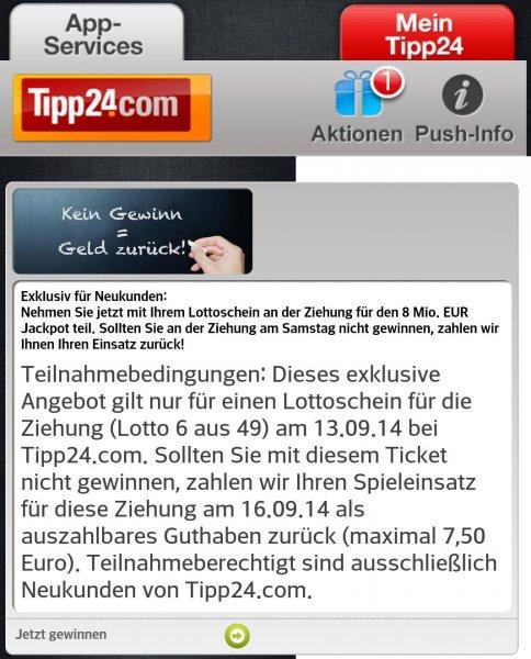 Geld zurück für Tipp24 Neukunden (max. 7,50€)