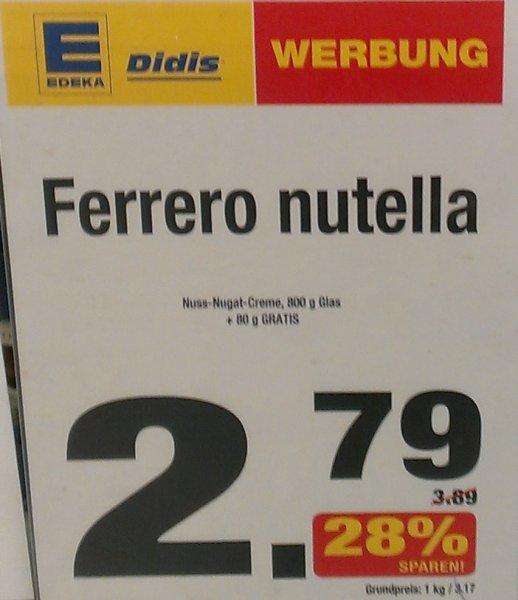 [Lokal] 800g Nutella für 2,79€ - Edeka Didis Gochsheim