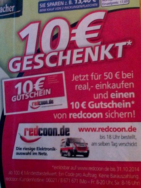 für 50€ bei Real kaufen, 10€ (100€ MBW) redcoon Gutschein erhalten