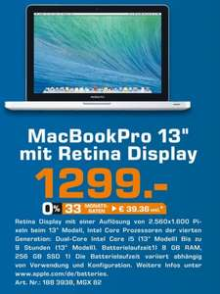 (lokal) 27 Jahre Saturn Dortmund City - Macbook Pro Retina MGX82D/A 1299 € | Sonos Playbar 599 € | Apple TV 3 79 € | Sonos Play 1 177€ | Bowers & Wilkins Z2 165 €