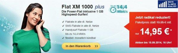 hellomobil (o2) – Allnet-Flat, SMS-Flat, 1GB Daten für 14,95€ (monatlich kündbar)