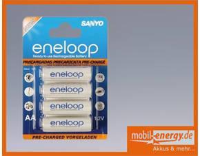 Sanyo Eneloop 4xAA oder 4xAAA 1€/St @meinpaket mit 5€ (Newsletter-) Gutschein - Preis wieder gesenkt