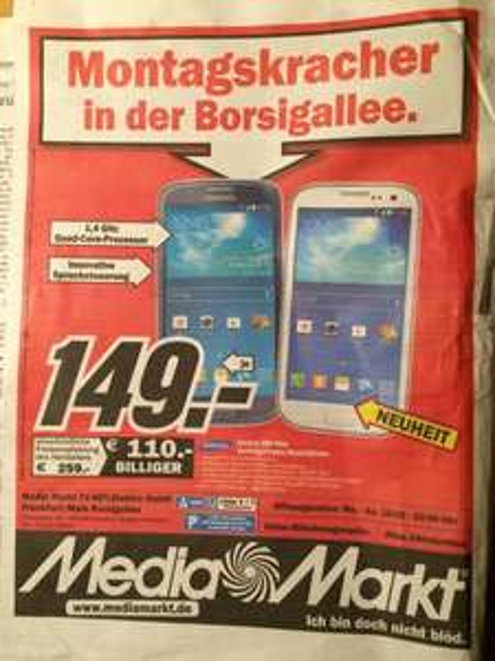 [Lokal Frankfurt] Samsung S3 Neo bei Media Markt Frankfurt Borsigallee
