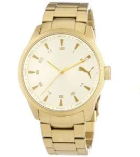 Puma Time Herren-Armbanduhr XL Indicator Metal Gold Analog Quarz Edelstahl für 46,64 € inkl. Versand Amazon.it