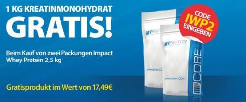 1kg Kreatin Monohydrat kostenlos dazu bei Kauf von 5kg Impact Whey Protein (92,99€)