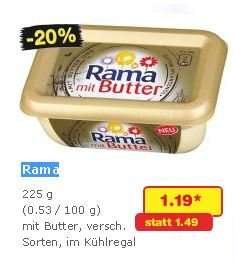 Rama mit Butter 5x 225g (1,125kg) für 3,95 EUR (0,79 EUR pro Packung) @netto ohne Hund und Rewe (mit Coupon)