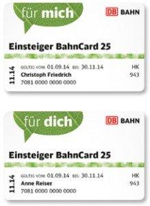2x Einsteiger BahnCard 25 zum Preis von einer (2. Klasse € 19 / 1. Klasse € 39) – Aktion bis 31.12.2014 verlängert