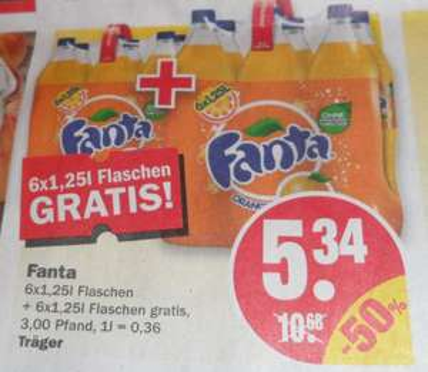 NP Discount (wohl Bundesweit) ab 22.09 12x 1,25l Fanta 5,34€ +Pfand - 0,36€/Liter