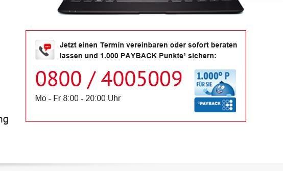 1.000 PAYBACK Punkte für unverbindliche Telefon/Video-Beratung bei der Hypovereinsbank