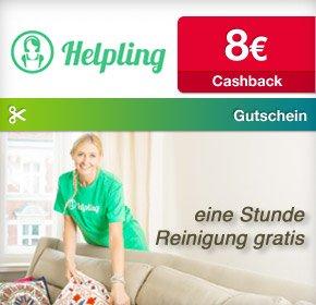 [Qipu] Helpling: Gutschein für 1 Stunde (14,90€) Gratis Putzen + 8€ Cashback für Neukunden = 2,90€ für 2 Stunden Putzen!
