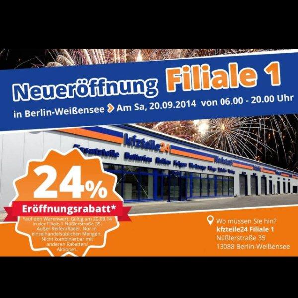 24% Kfzteile24 Neueröffnungsrabatt (13088 Berlin - Weißensee)
