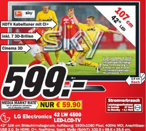 """Media Markt Jena: LG Electronics 42LW4500 - 42"""" 3D-LED, 100Hz, DVB-T/C - mit 7 3D-Brillen für 599€ und Anderes"""