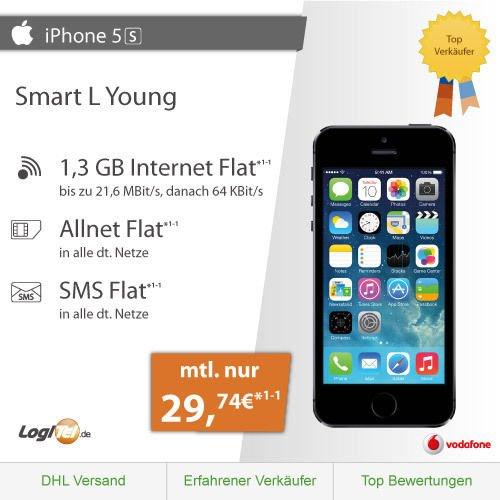 iPhone 5S + Vodafone Smart L Young|Allnet|InternetFlat (1,3GB)| mtl.29,74€