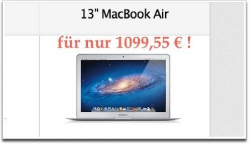 """MacBook 13"""" 1,7 Intel i5, 128 GB, 4GB Ram für 1099, also 275 Euro günstiger"""