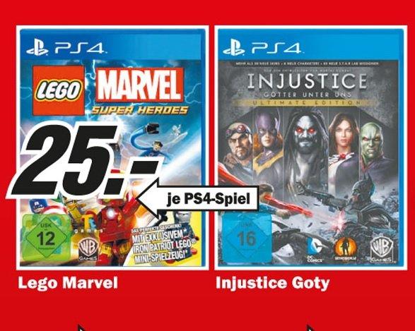 Injustice Ultimate Edition (PS4), Lego Marvel Super Heroes (PS4) für 25€ lokal @ Mediamarkt Köln