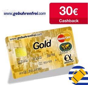 gebührenfreie MasterCard GOLD mit 30€ Cashback von Qipu