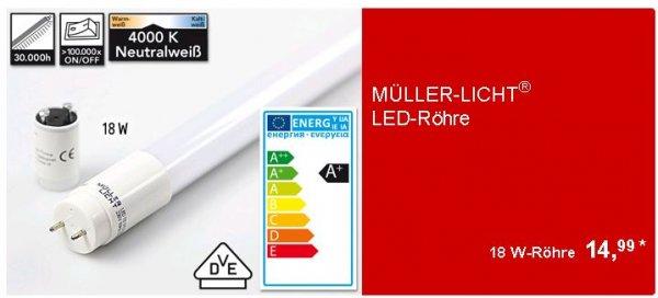 ALDI SÜD Angebot.: MÜLLER-LICHT® LED-Röhre / 18 W / 1.700 lm oder 22W / 2.000lm / 120 cm bzw. 150cm / G13, 230 V, 50/60 Hz