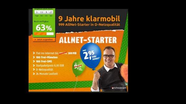 Klarmobil Allnet-Starter 2.95 Aktion bei Crash - 100 Min / 100 SMS / 300 MB