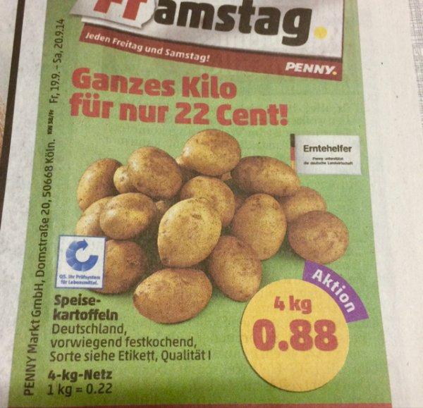 4kg Kartoffel für 0,88€ @ Penny